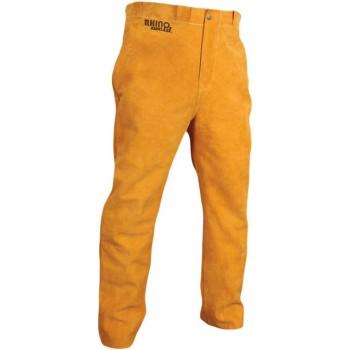 Pantalon soudeur en cuir jaune