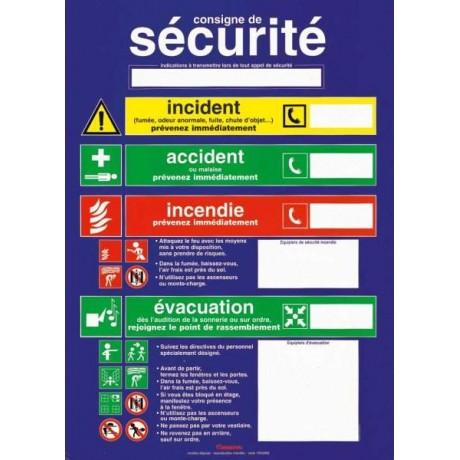 Pancarte consigne de sécurité, incident, accident, incendie, évacuation, 30 x 40 cm