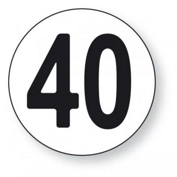 Materiel professionnel : Disque Limitation de vitesse 40 km/h Adhésif x 10