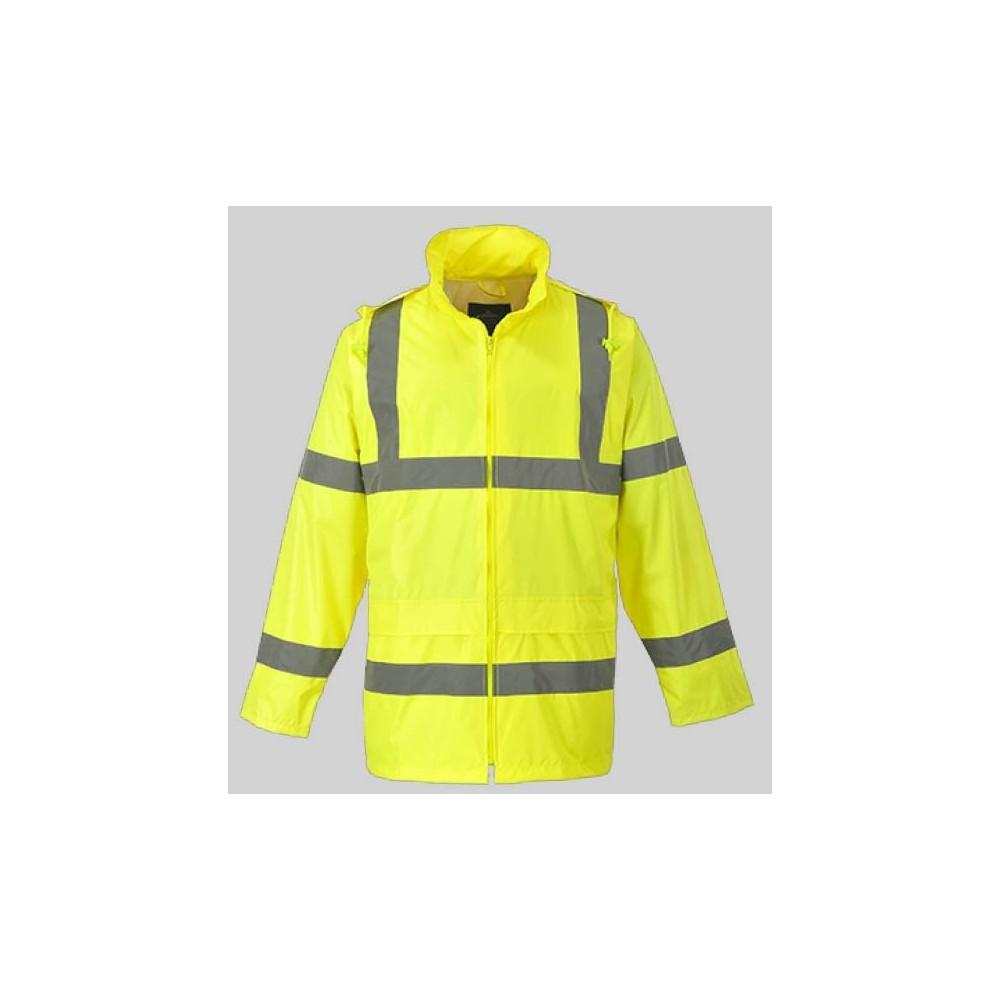 manteau veste de pluie haute visibilité jaune