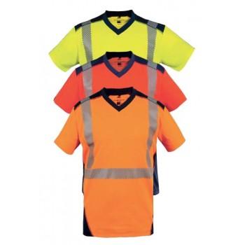 tee shirts manches courtes haute visibilité jaune orange rouge