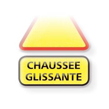 Panonceau CHAUSSEE GLISSANTE 2 lignes 70 cm